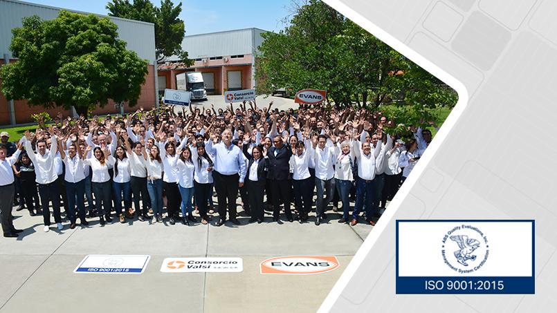 Consorcio Valsi la fábrica de equipos Evans está certificada con sistema de calidad ISO 9001:2015